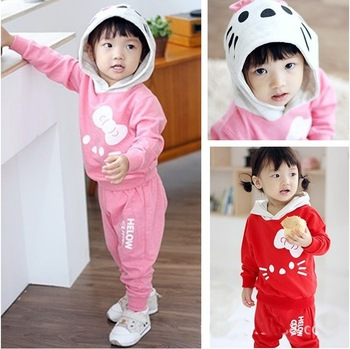 hello kitty KT cat childrens clothing suit 2 pcs set girl's coat Hooded jacket Sweater + pants baby outerwear for spring autumn