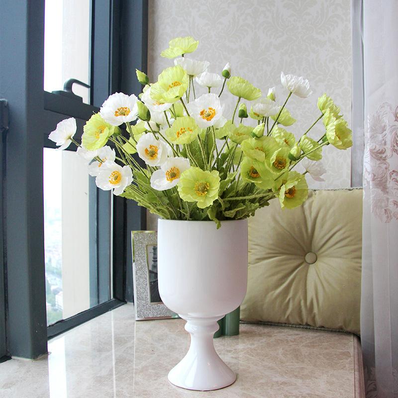 Artificial flowers poppy Poppies rustic home decoration flowers Silk flowers /fiori decorative Long 60cm 5pcs /lot(China (Mainland))