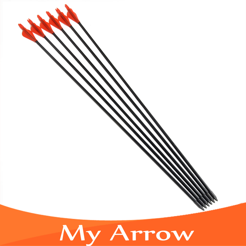 Free shipping 6PCS Archery Compound Bow Arrow Pracise Fiberglass Arrow 31 inch Length with Plastic Arrow