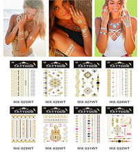 WT25-40 Sex Fashion Golden Silver Metallic Temporary Tattoos Sticker Waterproof Pattern(China (Mainland))