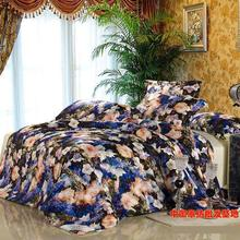 Luxury floral blue  bedding set queen size duvet quilt cover bedsheet bed in a bag sheet bedroom linen  beautiful 4pcs(China (Mainland))