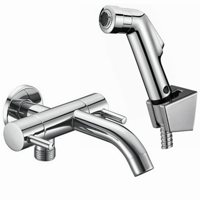 Free Shipping abs Hand held Bidet Shower set Toilet Jet Cleaner tap Bidet High Pressure Shower Head and 1.5m hose BD566(China (Mainland))