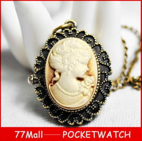 Wholesale Necklace Watch Vintage Style Bronze Steampunk Lovely Queen Head Pocket Watch For Xmas Gift(China (Mainland))