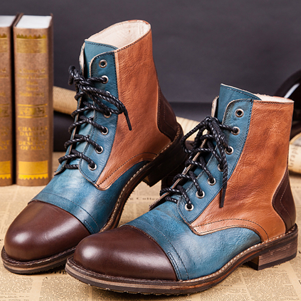 2016 Winter Men Fashion Patchwork Mixed Color Round Toe Genuine Leather ankle Martin Boots Retro Tooling Boots Army Boots