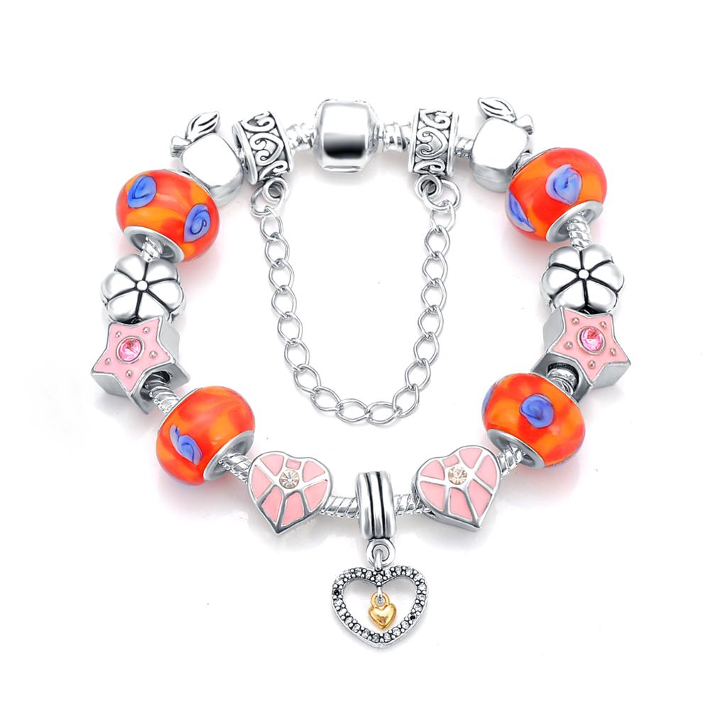 Latest Heart Charm Beads Bracelet & Bangle Antique 925 Silver Snake Chain Bracelets For Women Love Bracelets PCBR0061(China (Mainland))