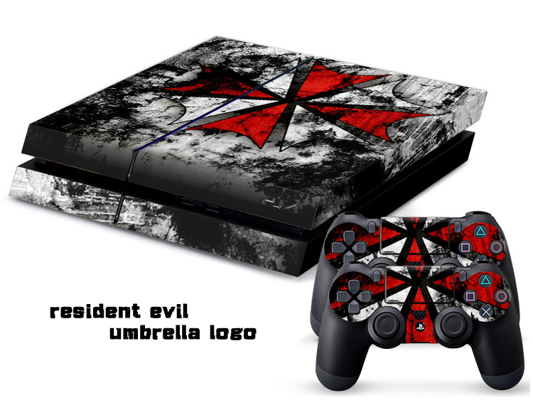 NEW PVC Resident Evil Protection Skin Cover Case Sticker For Sony PS4 System Playstation 4 Console+2 Controller Skin(China (Mainland))
