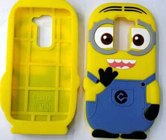 3D Cute Lovely Despicable Me Minions Soft Silicone Cellphone Moblie Phone Rubber Case Back Cover For LG G2 Mini G2mini D618 D620(China (Mainland))