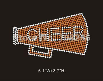 Free shipping 40pcs/lot Hot Fix Rhinestone Motif Cheer with megaphone designs for sports mom shirt