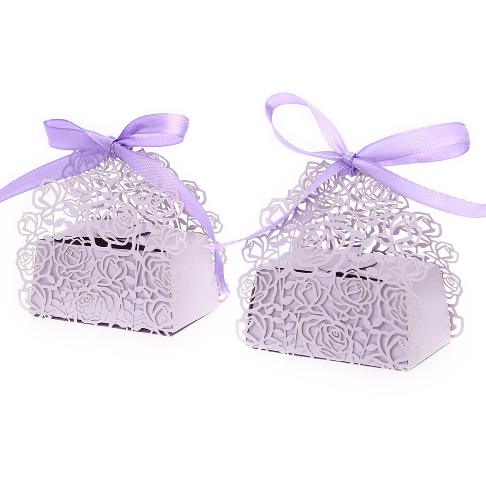 50 Pack Roses Flowers Laser Cut Favor Candy Box Bomboniere with Ribbons Bridal Shower Wedding Party Favors(China (Mainland))