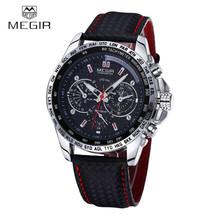 MEGIR Célèbre Marque Quartz Hommes Montres Top Marque De Luxe Quartz-montre Horloge Bracelet En Cuir Homme Montre-Bracelet Relogio Masculino Reloj(China (Mainland))