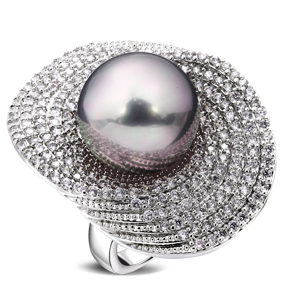 Rings for girl rhodium plated with Cubic zircon & imitation pearl copper Ring new designer fashion jewelry Free shipping(China (Mainland))
