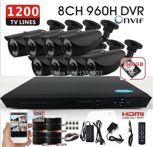 Home cctv 8ch 960h dvr with 8pcs 1000TVL camera kit home video Surveillance 960H DVR NVR Recorder system HDMI 1080p 1TB HDD(China (Mainland))