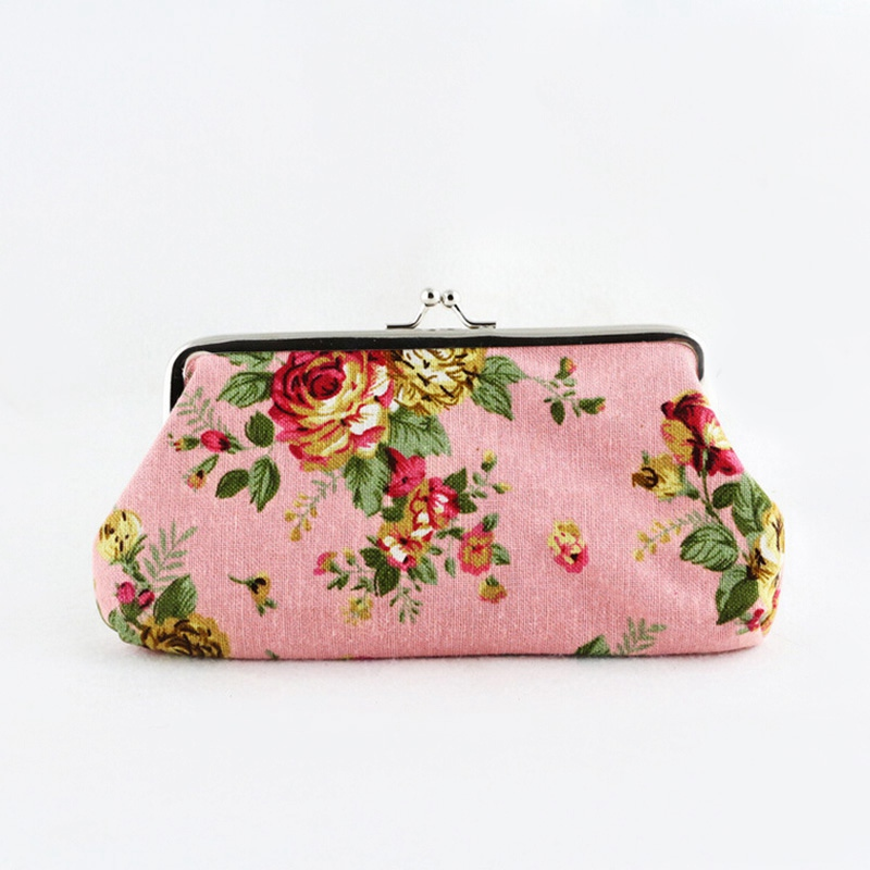 Top Selling Lovely Multicolor Women Wallets Flower Print Canvas Metal Button Coin Purses Girl Key Card Small Wallets<br><br>Aliexpress