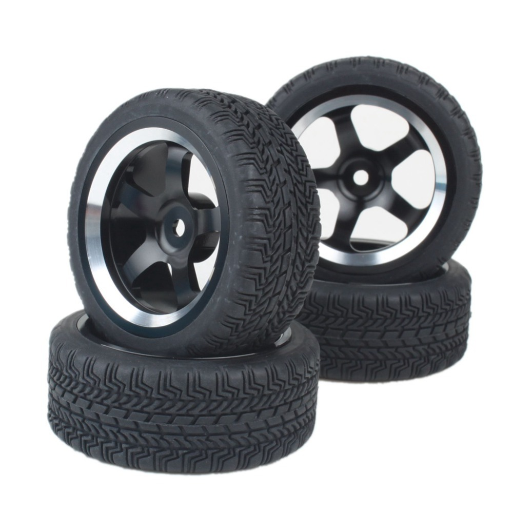 Black Aluminum Alloy 5 Spoke Wheel Rims & Rubber Tires for RC 1:10 On Road Car(China (Mainland))