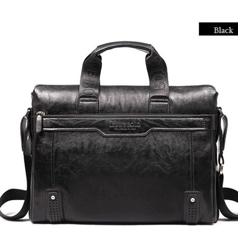 Simple Leather Briefcase for Men Black travel Bag Men Briefcases Genuine Leather Handbag Male Portfolio Business Bag brief case