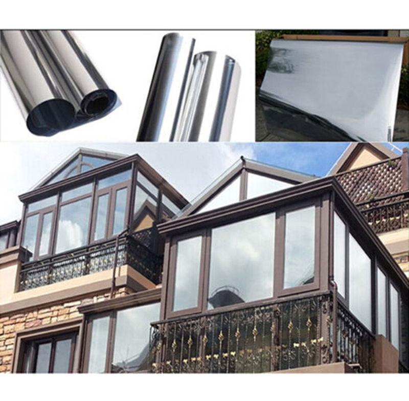 Silver Window Film One Way Mirror Insulation Stickers Solar Reflective 50cmx2m(China (Mainland))