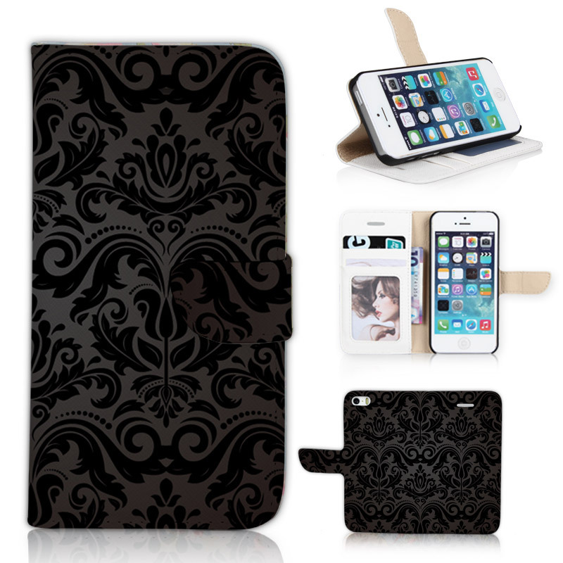 BTD Luxury Damask Flip Card Holder Case Skinfor iphone 5 5s 5g Stand Wallet Phone Cover Shell P029-5G(China (Mainland))
