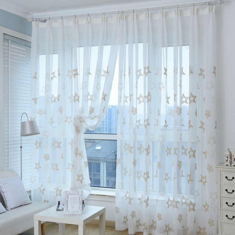 High Quality Embroidered Curtain White Window Sheer Tulle With Stars Incurtains From Home