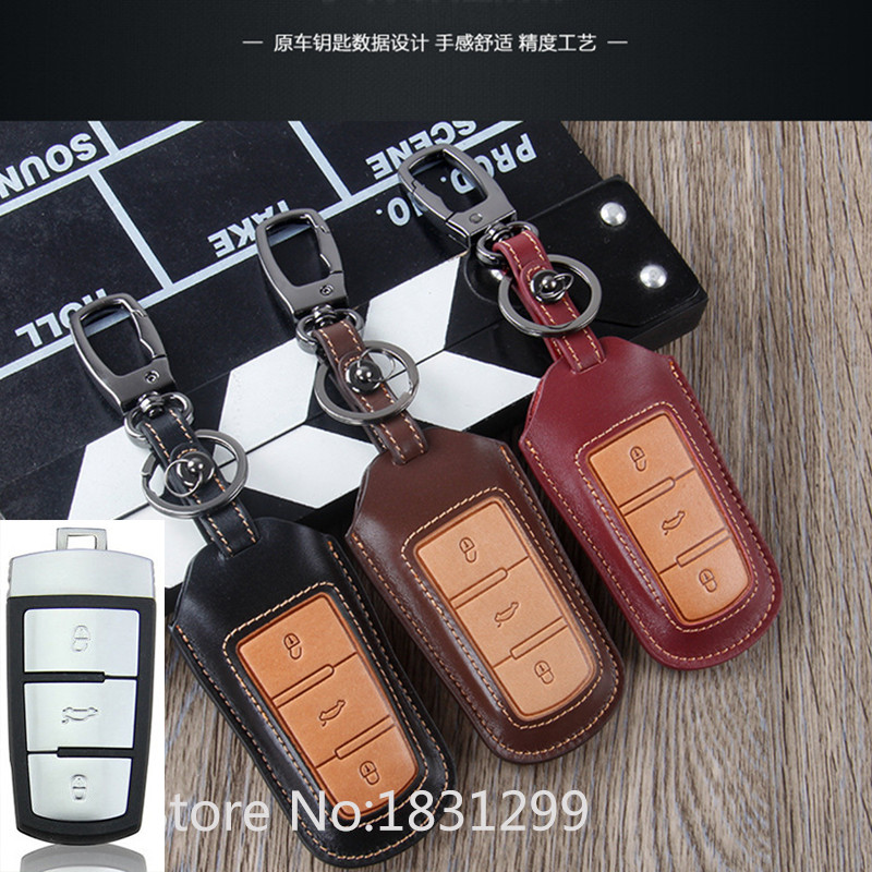 Hot sale classic design 100% leather car key case for the VW Golf 7 Bora Leather Car Key Pack Dusters 3 buttons remote control(China (Mainland))