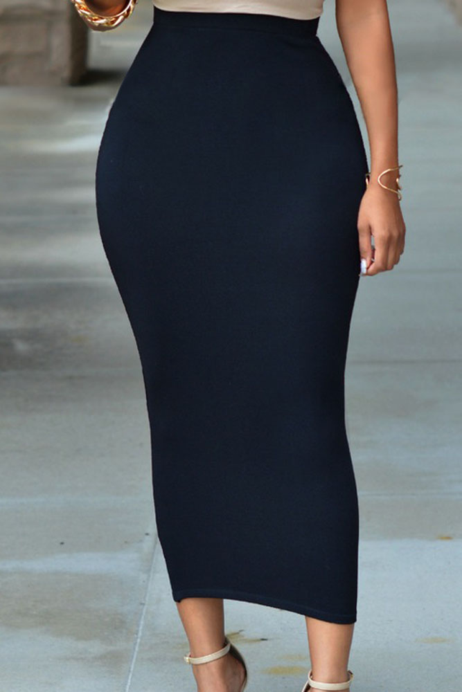 Solid Black High waisted Bodycon Maxi Skirt LC71188 Cheap ...