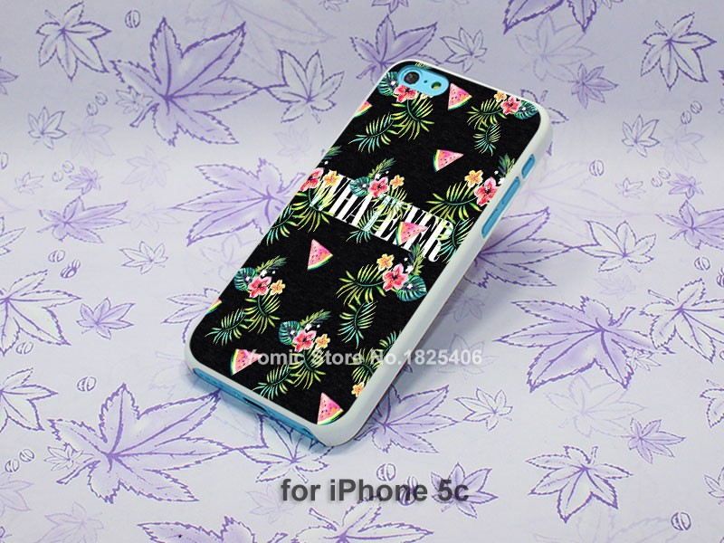 unique tumblr what ever watermelon pink Design hard White Skin Case Cover for iPhone 4 4s 4g 5 5s 5c 6 6s 6 Plus