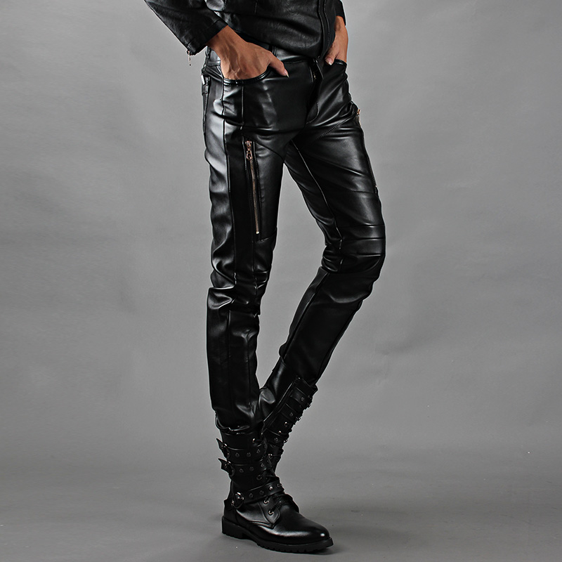 Winter warm fashion casual Male slim PU leather pants tight  plus velvet pants Korean motorcycle men singer thermal trousersОдежда и ак�е��уары<br><br><br>Aliexpress