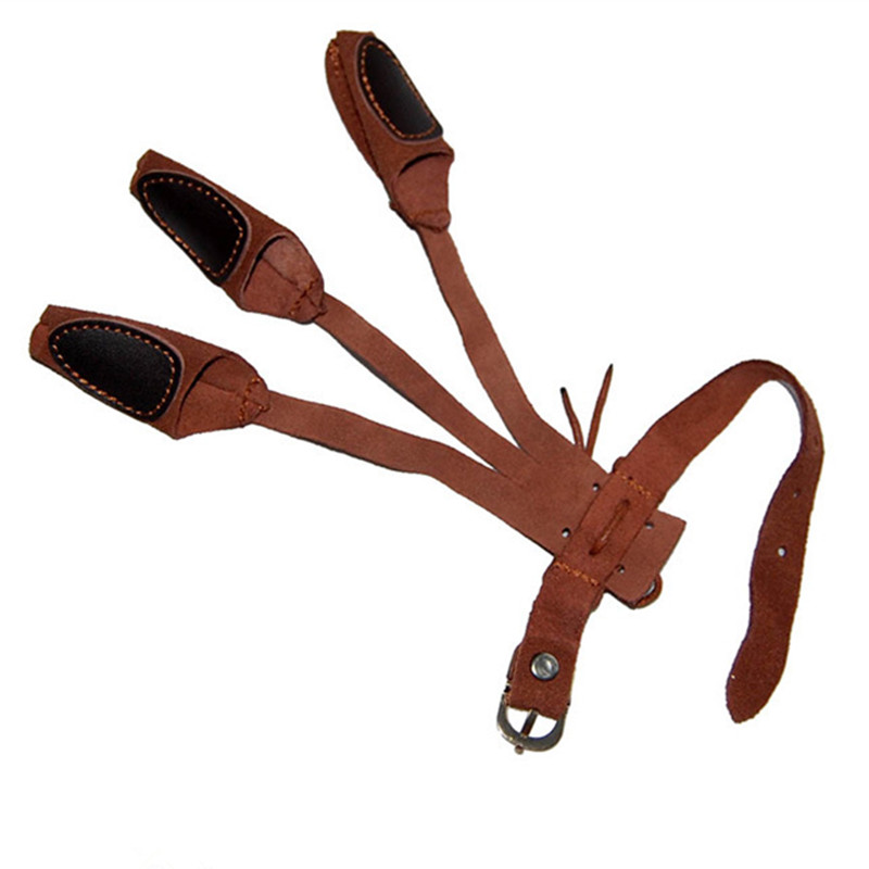 1pc Outdoors Hunting Supplies Traditional Archery Shooting Protect Glove Bows Brace Three Fingers Leather Guard Gloves