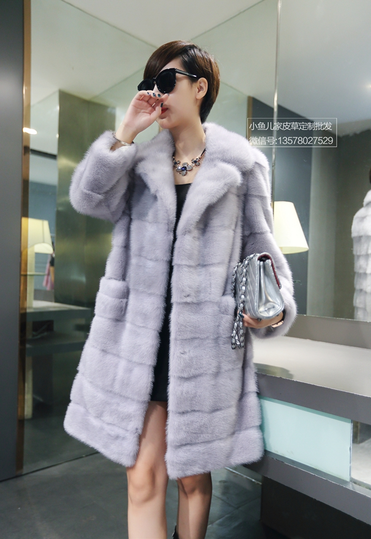 2015 taro long design mink women's marten fur coat overcoat(China (Mainland))