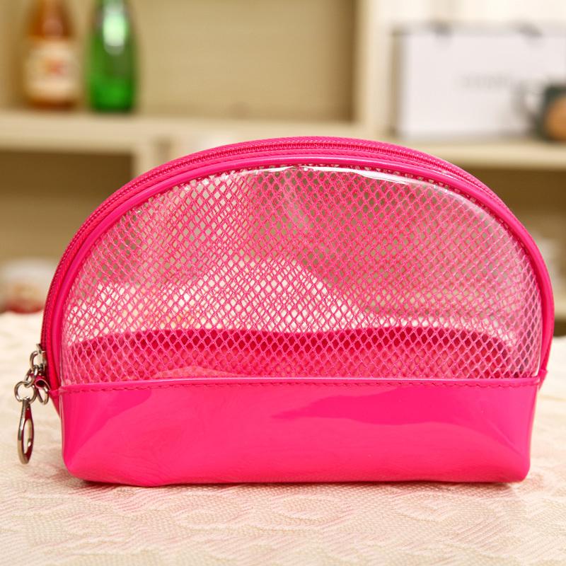2015 Summer New Cute Waterproof Women Makeup Bag PVC Transparent Travel Cosmetic Net Bag Flower Small Bag Free Shipping(China (Mainland))