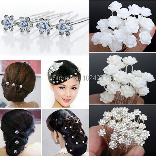 Wholesale 160PS Wedding Bridal Pearl Flower Crystal Hair Pins Clips Bridesmaid 5 Styles Mixed Hair Accessories Free Shipping