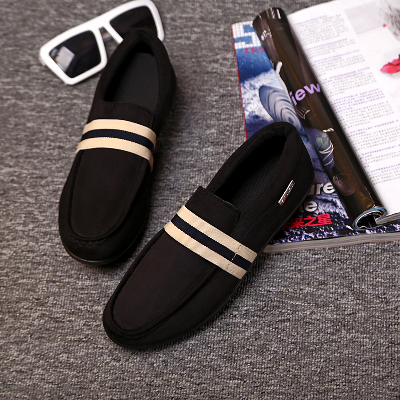 Young men shoes shoes black shoes Doug male British men in summer autumn and winter leisure shoes slip on loafer