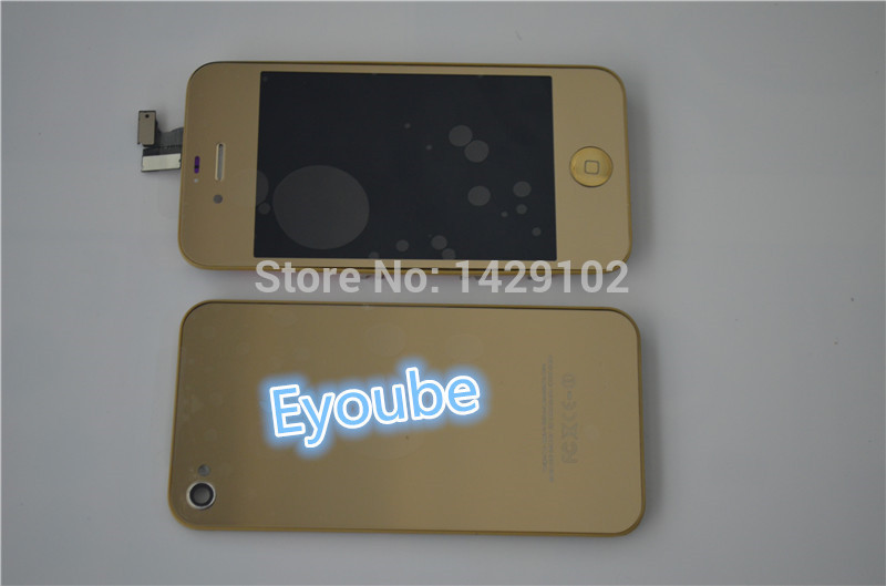 Gold Plating Mirror gold LCD Display Touch Screen Digitizer Assembly with gold middle frame for iPhone4s with battery cover(China (Mainland))