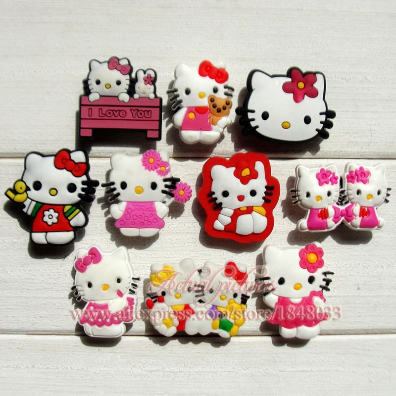 100pcs Hello Kitty Shoe charms Buckle Fit Wristbands & Jibz Croc Shoes with holes Kids Best Gifts(China (Mainland))