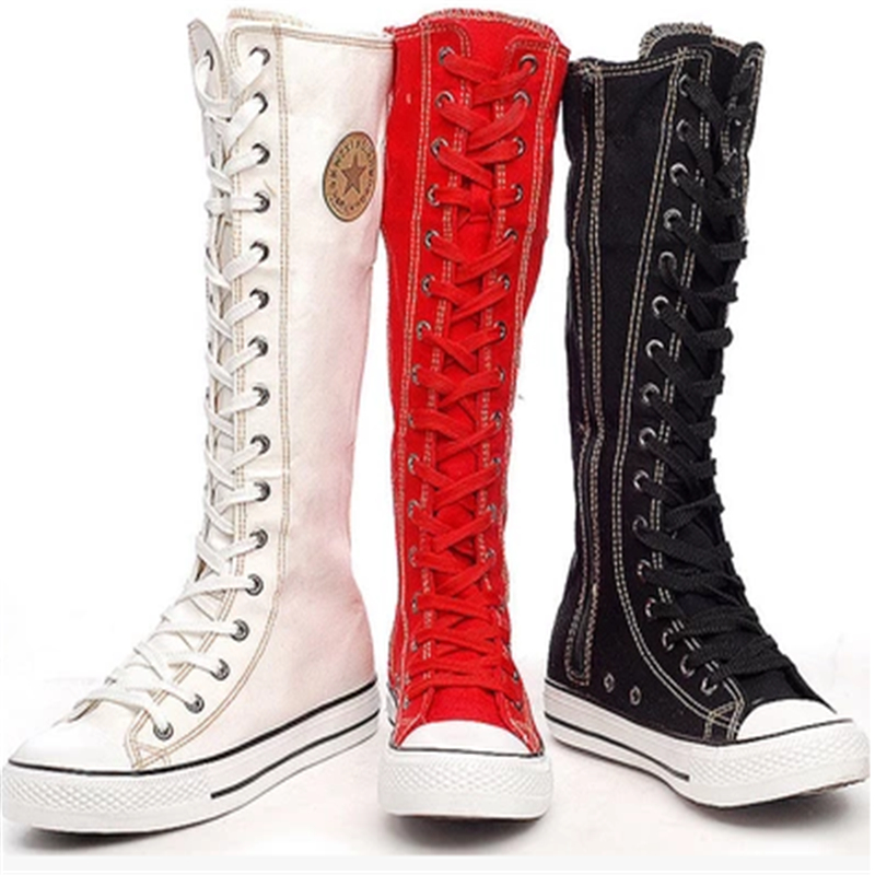 popular knee high lace up flat boots buy cheap knee high