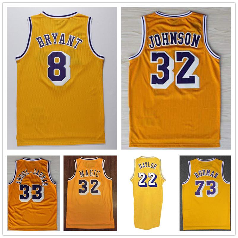 Retro Yellow Kobe Bryant #8 Magic Johnson #32 Kareem Abdul Jabbar #33 Baylor #22 Dennis Rodman #91 Throwback Basketball Jersey(China (Mainland))