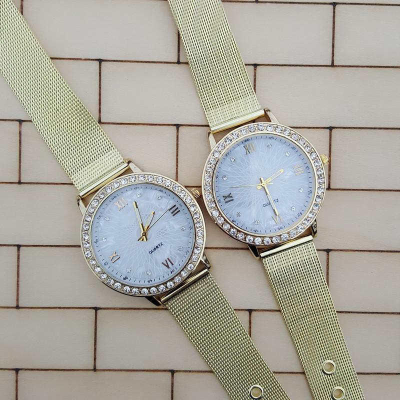 2016 Hot Sale Circle Diamond Roman Dial Alloy Mesh Watchband Women Dress Wristwatches White Face Simple Girlfriend Gift Watch(China (Mainland))