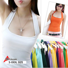 women Halter Solid Cotton Large size Candy colors Slim Fit Slimmer Sexy Suspenders Vests Camisole tank tops for girls