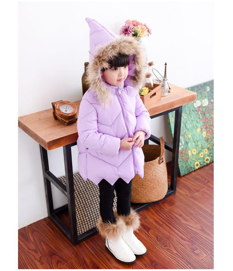Скидки на 2016 Новое Прибытие Зима Пуховик Для Девочек детская Длинное Пальто Рождественский Дизайн Шляпу