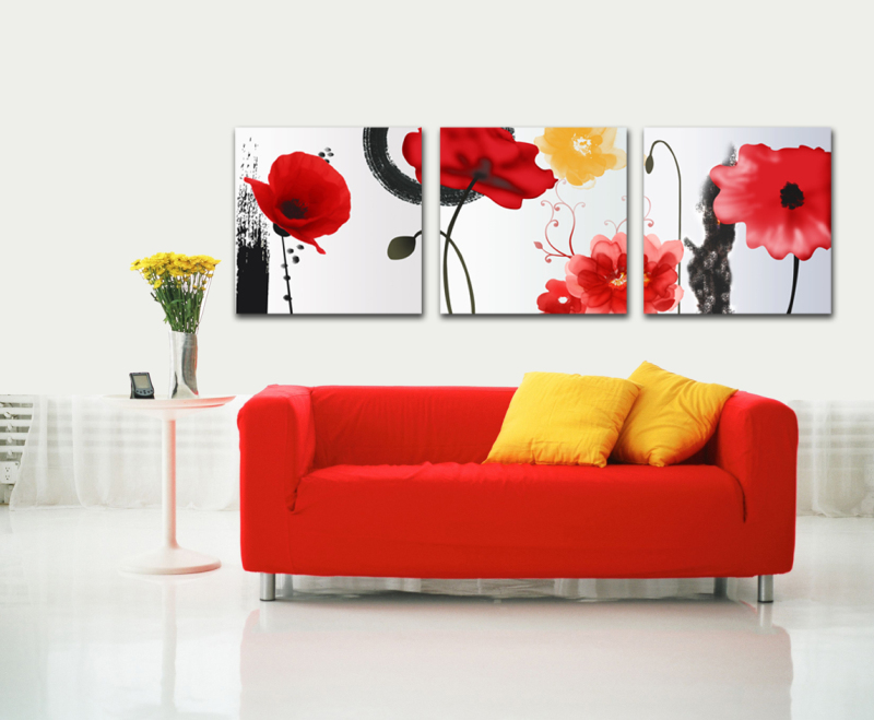 3 Panels Wall Art Pictures About red flowers Painting On Canvas Modern Drawing living room decoration wall sticker LKB-ZH-158(China (Mainland))