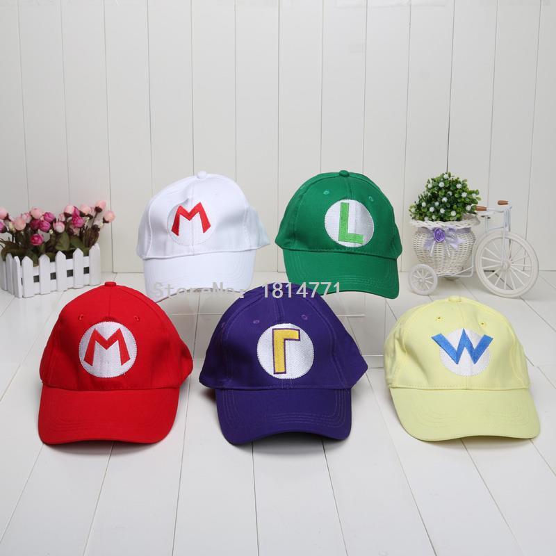 Super Mario Bros Baseball Hat Caps Wario Waluigi Mario Luigi Hats 5 colors plush toys(China (Mainland))