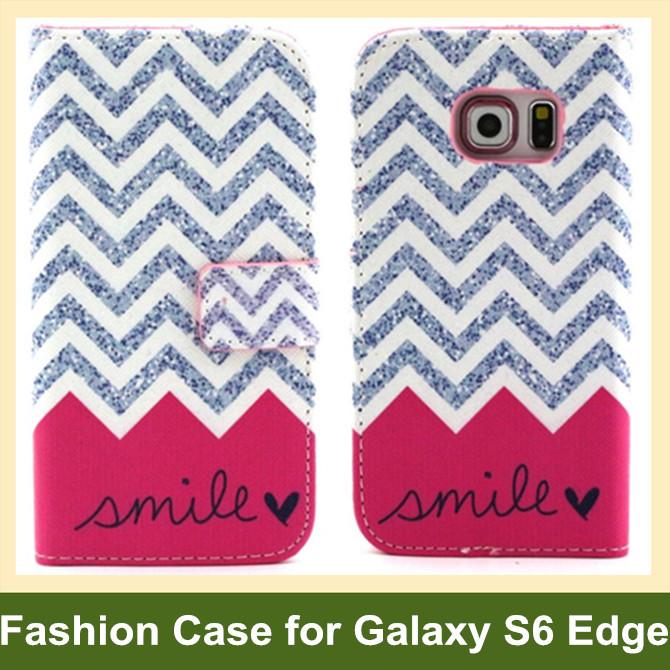 Retro Camera Radio Dog Bear Elephant Owl Flower Wave PU Leather Wallet Flip Case for Samsung Galaxy S6 Edge SM-G925F 10pcs/lot