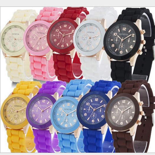 Free Shipping 2015 fashion casual Geneva Silicone quartz watch Ladies Jelly Sport wristwatch Woman dress brand