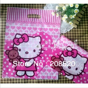 AD242 10 35*45cm hello kitty plastic shopping bag pink gift bags handle - Women Beauty Store store