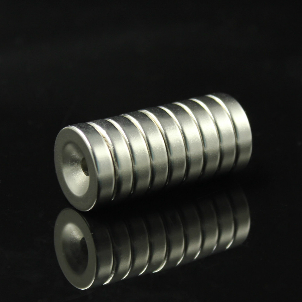 10pcs Super Strong Round Neodymium Countersunk Ring Magnets 20mm x 5mm Hole: 5.2mm Rare Earth N50 Free Shipping(China (Mainland))
