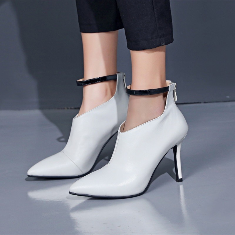 Leather Boots Deep Mouth 2016 Full Grain Leather Office Lady Outdoor Party Pointed Toe Thin Heels Pumps Black/White/Dark red New