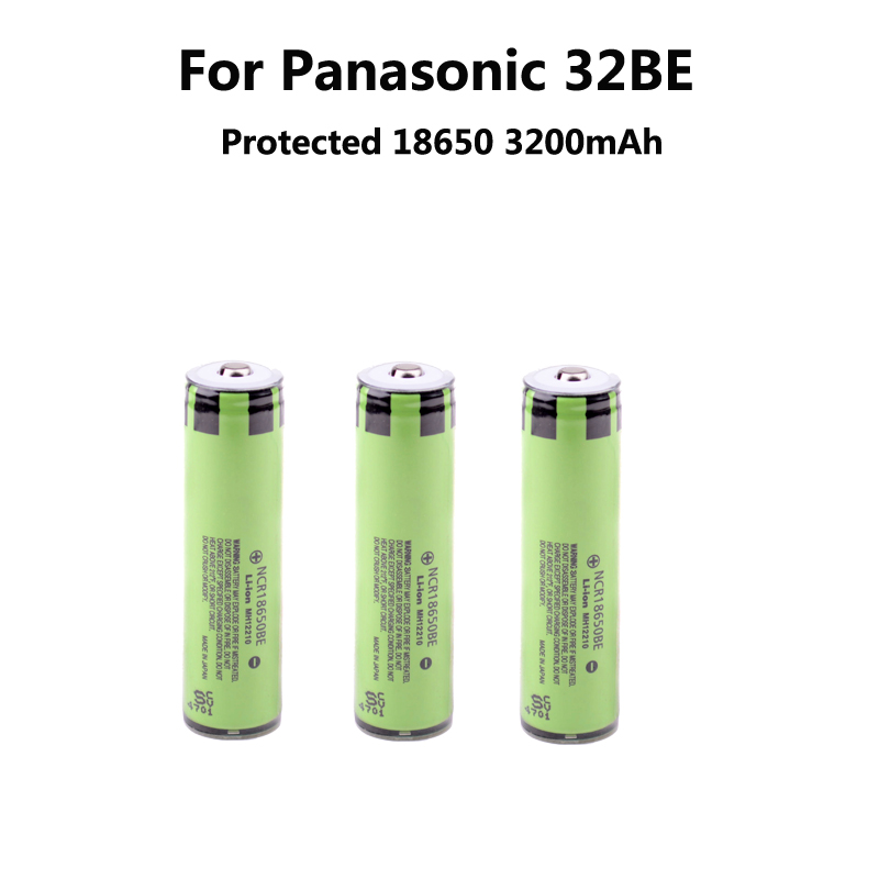 3 New protected ncr18650be unids original 3200 mAh Li ion rechargeable 18650 Battery Panasonic PCB  -  Snow White's store Electronics store