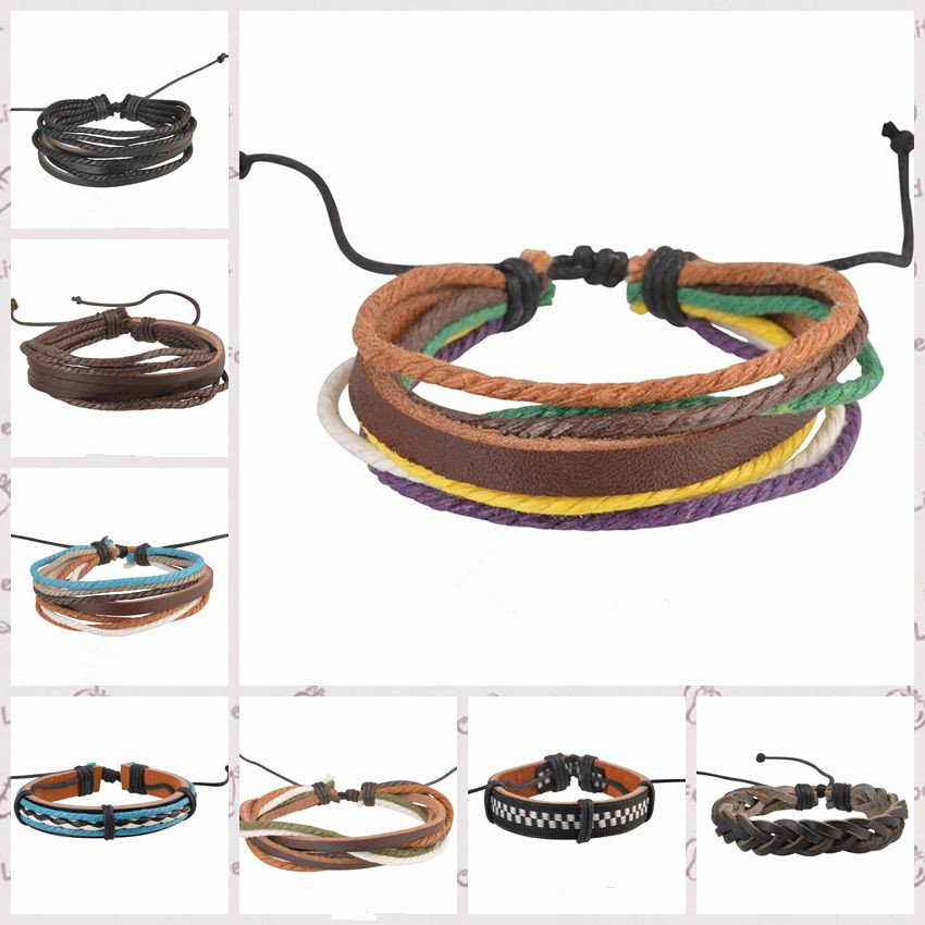 Fashion Jewelry Wrap multilayer Leather Braided Rope Wristband men Love bracelets & bangles pulseira de couro free shipping(China (Mainland))