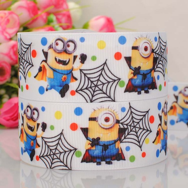 """20Y 1-1/2""""38mm new hot  minions despicable me Halloween ribbon cartoon pattern Printed, grosgrain ribbon hairbow DIY gift 00275"""