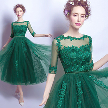 Buy Green Lace Tulle Tea Length Cocktail Dresses 2017 robe de cocktail Beaded Lace Corset Back A-line Cocktail Party Gowns Real for $127.88 in AliExpress store