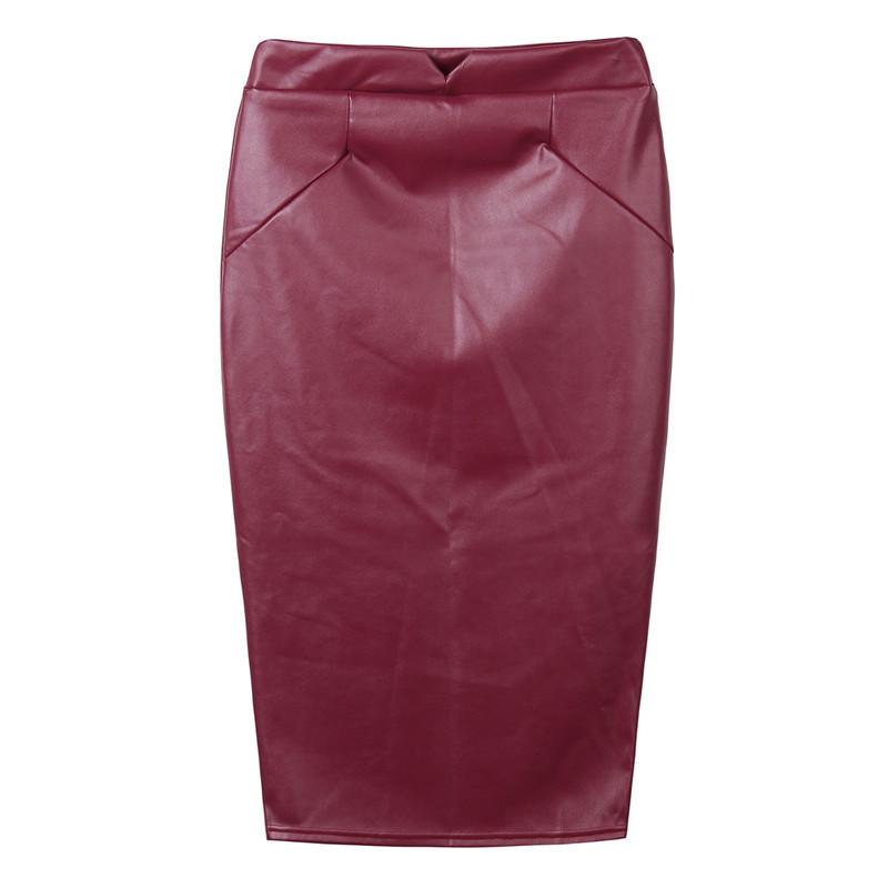 Hot Sale Women Soft PU Pencil Skirts Leather Skirt High Waist Slim Hip Vintage Bodycon Midi Skirt Sexy Clubwear Plus Size Yc029